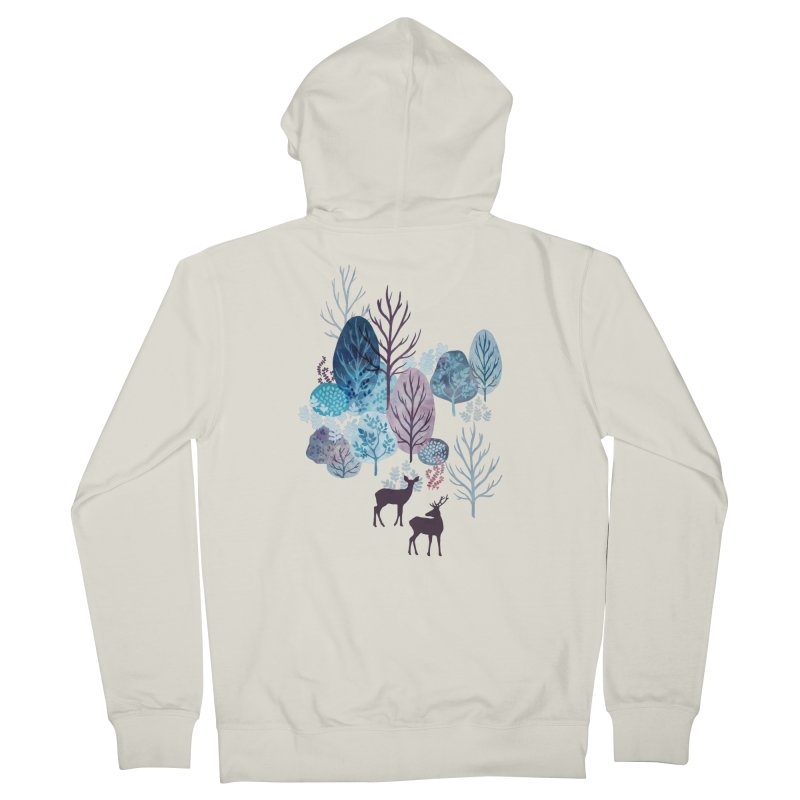 Steel blue forest deer Women's Zip-Up Hoody by AdenaJ