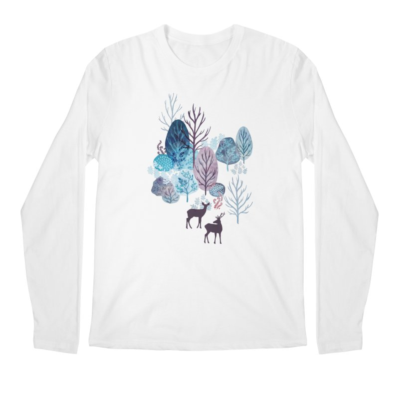Steel blue forest deer Men's Regular Longsleeve T-Shirt by AdenaJ