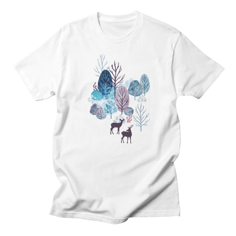 Steel blue forest deer Men's Regular T-Shirt by AdenaJ