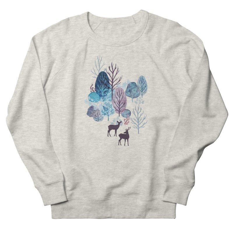 Steel blue forest deer Women's French Terry Sweatshirt by AdenaJ