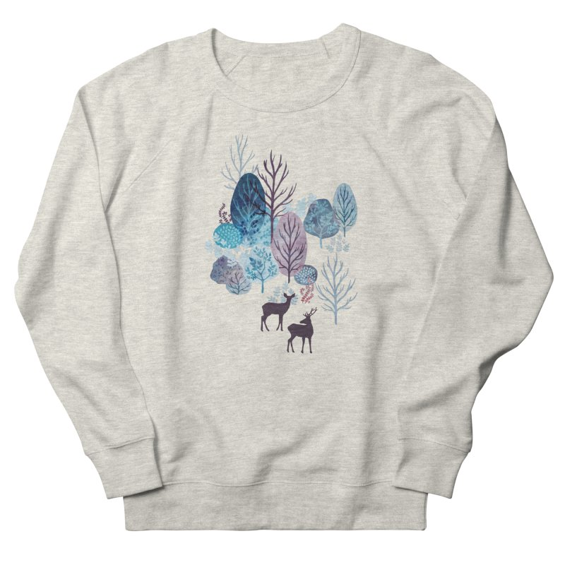 Steel blue forest deer Men's French Terry Sweatshirt by AdenaJ