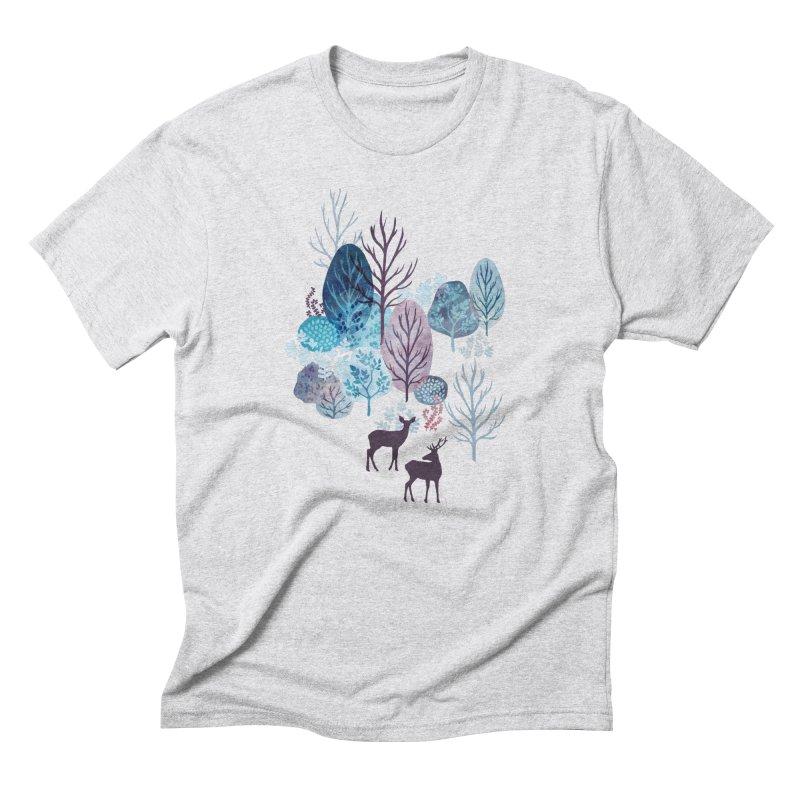 Steel blue forest deer Men's Triblend T-Shirt by AdenaJ