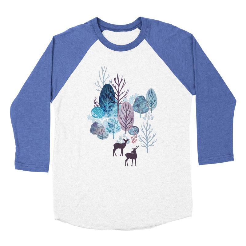 Steel blue forest deer Women's Baseball Triblend Longsleeve T-Shirt by AdenaJ