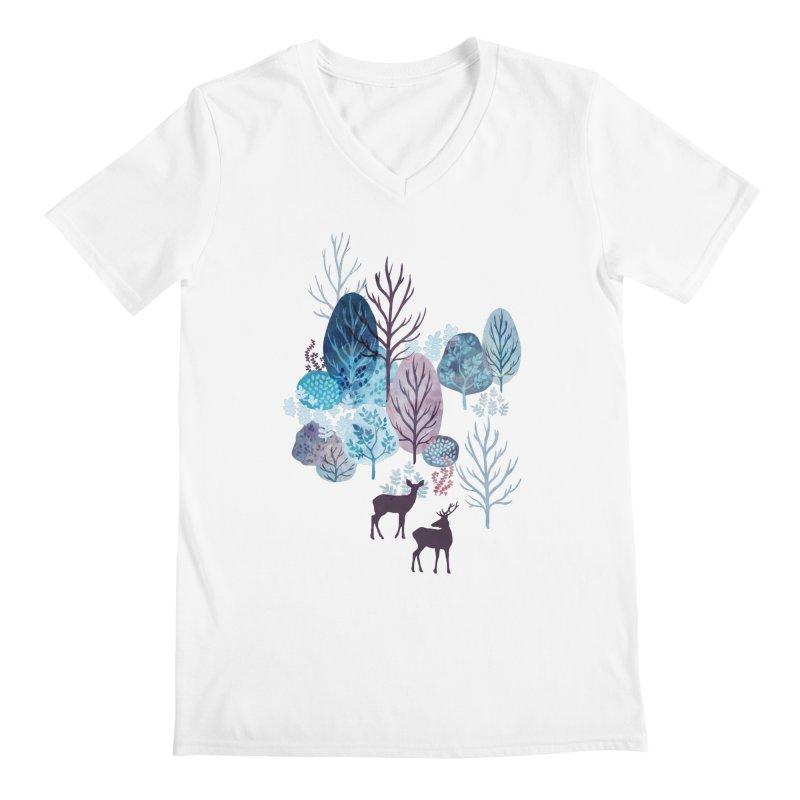 Steel blue forest deer Men's Regular V-Neck by AdenaJ
