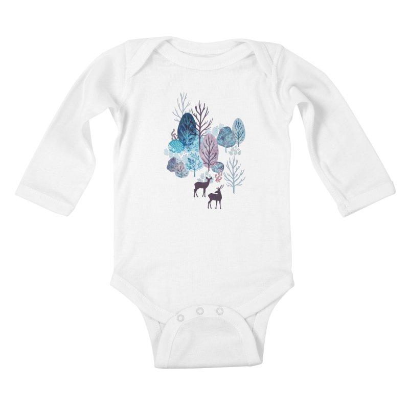 Steel blue forest deer Kids Baby Longsleeve Bodysuit by AdenaJ