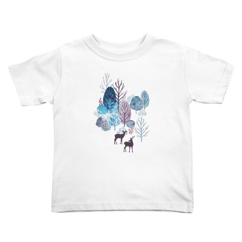 Steel blue forest deer Kids Toddler T-Shirt by AdenaJ