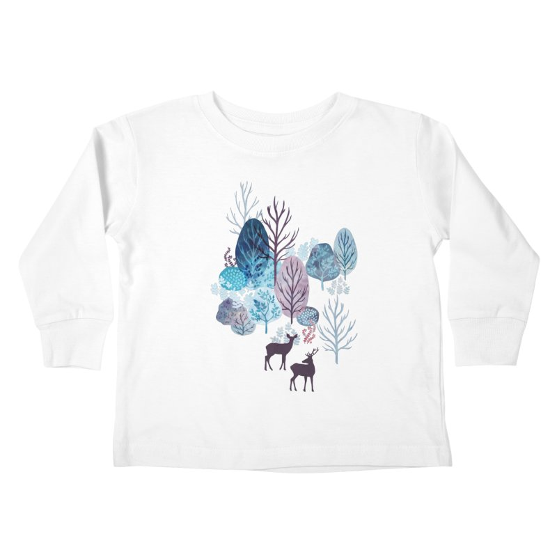 Steel blue forest deer Kids Toddler Longsleeve T-Shirt by AdenaJ