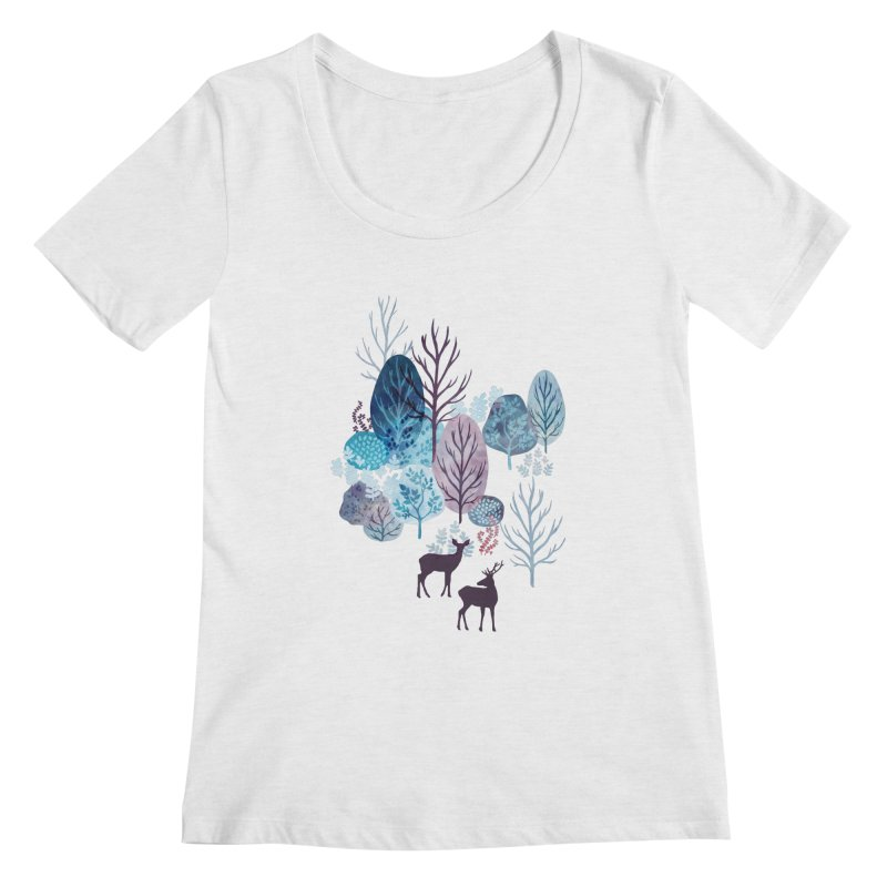 Steel blue forest deer Women's Regular Scoop Neck by AdenaJ
