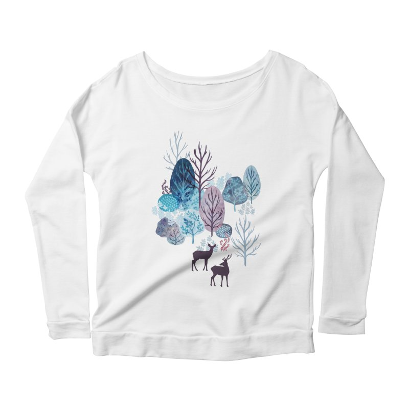 Steel blue forest deer Women's Scoop Neck Longsleeve T-Shirt by AdenaJ