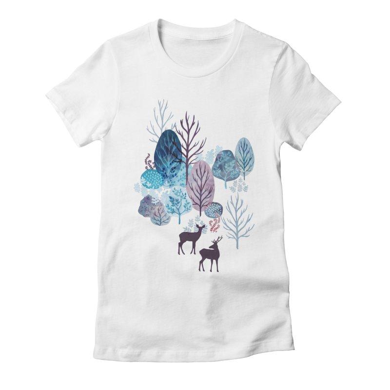 Steel blue forest deer Women's Fitted T-Shirt by AdenaJ