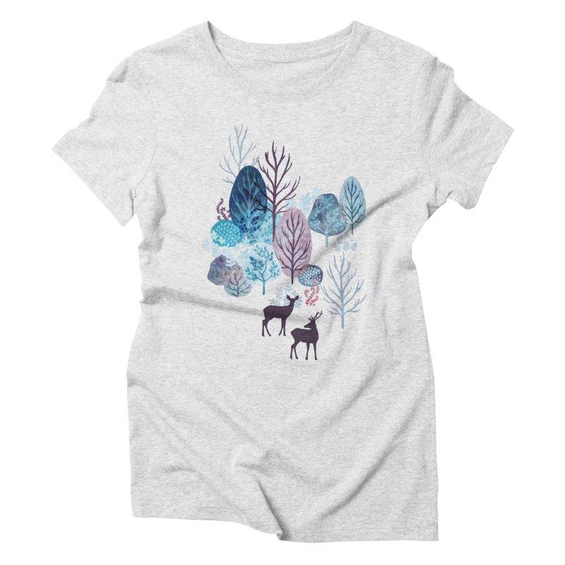 Steel blue forest deer Women's Triblend T-Shirt by AdenaJ