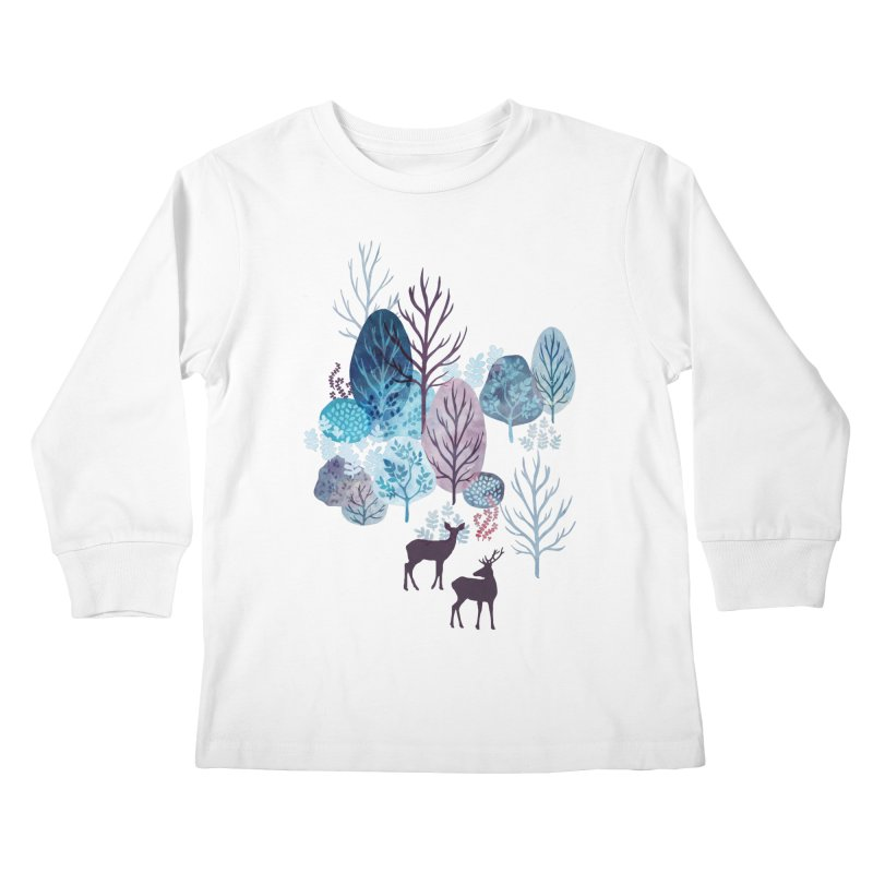 Steel blue forest deer Kids Longsleeve T-Shirt by AdenaJ