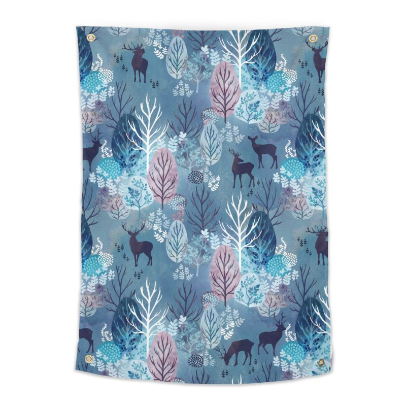 Steel blue forest deer Home Tapestry by AdenaJ