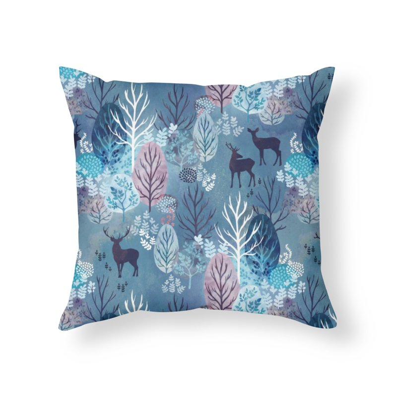 Steel blue forest deer Home Throw Pillow by AdenaJ
