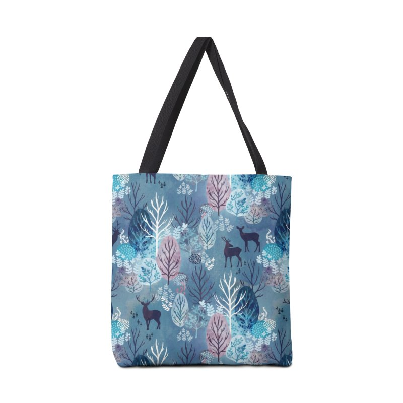 Steel blue forest deer in Tote Bag by AdenaJ