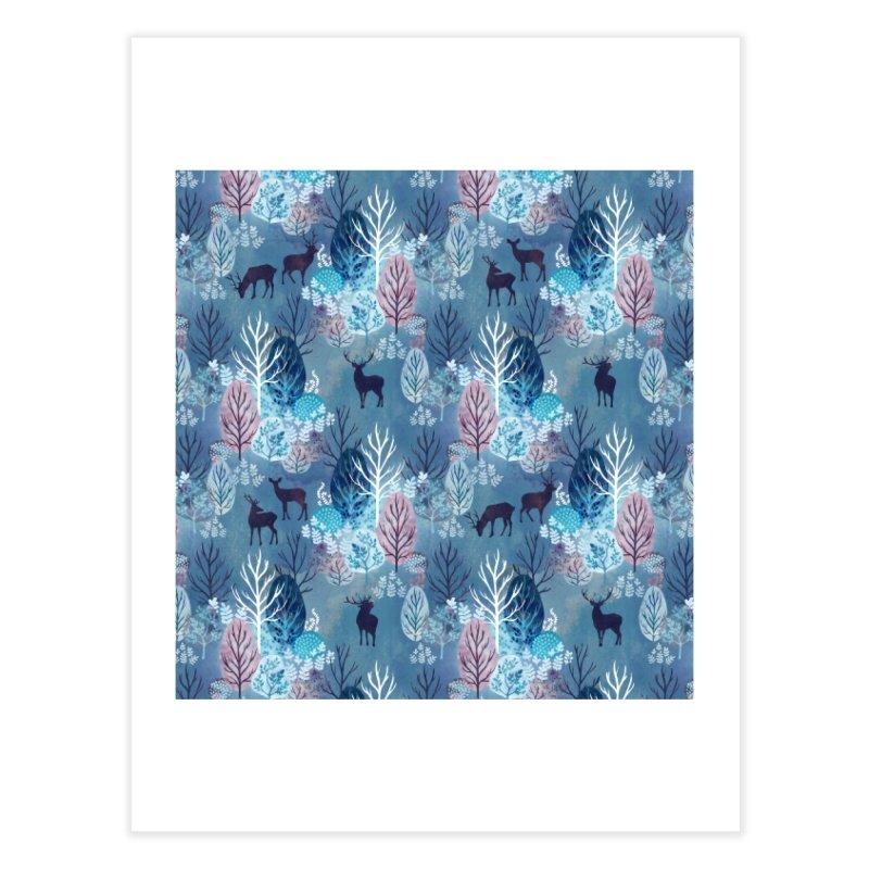 Steel blue forest deer Home Fine Art Print by AdenaJ