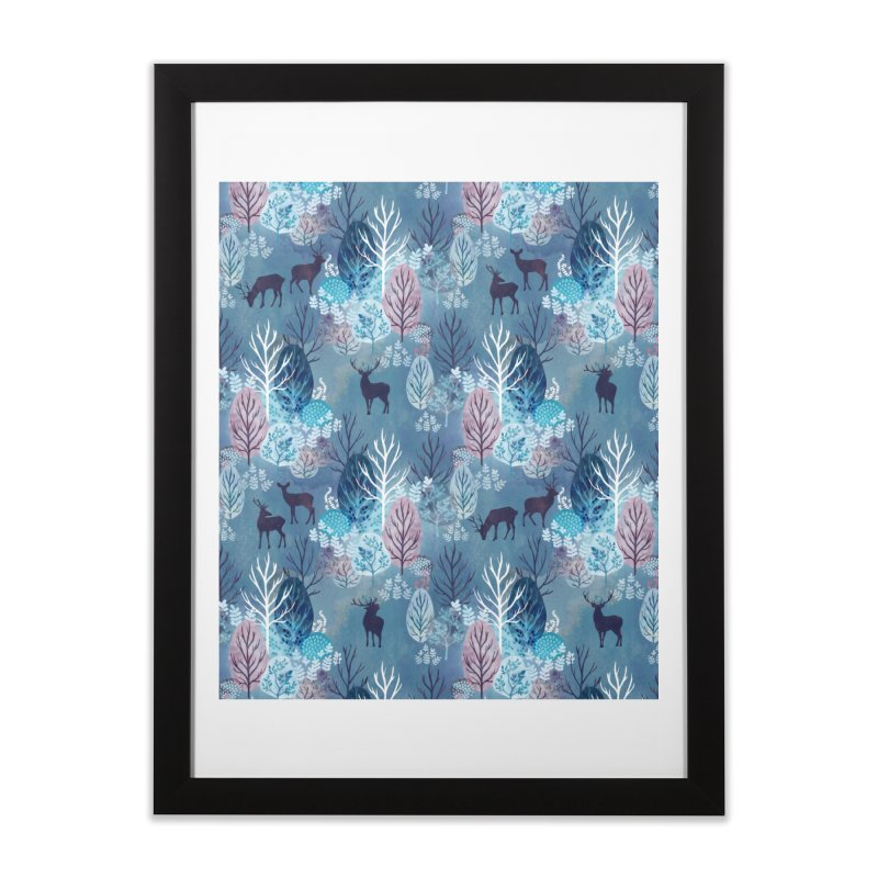 Steel blue forest deer Home Framed Fine Art Print by AdenaJ
