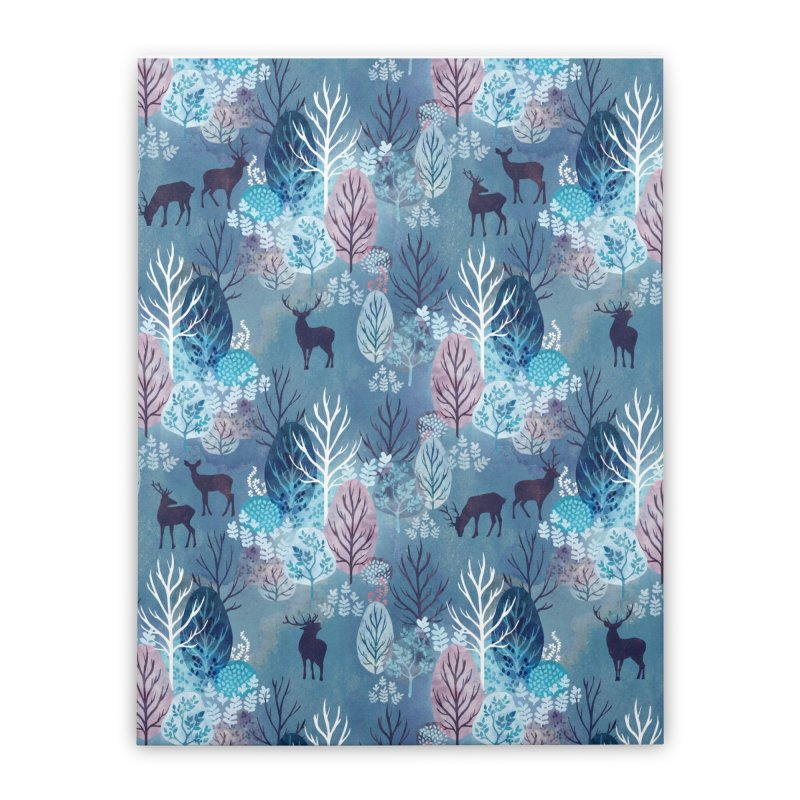 Steel blue forest deer Home Stretched Canvas by AdenaJ