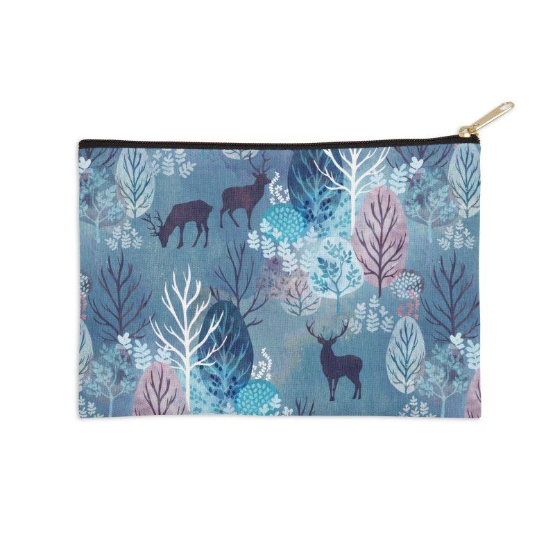 Steel blue forest deer Accessories Zip Pouch by AdenaJ