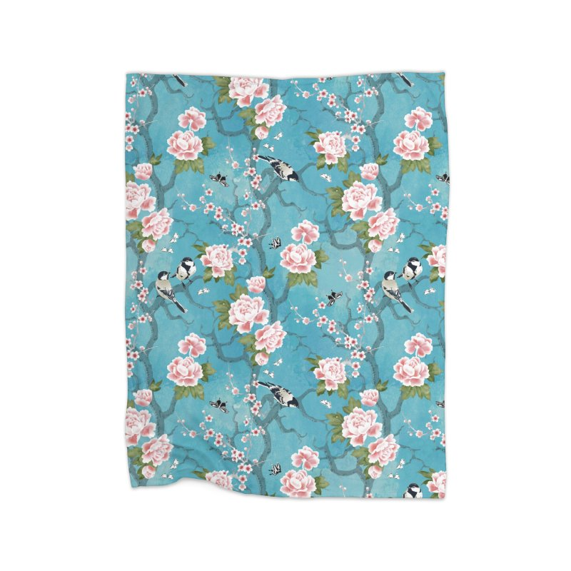 Chinoiserie birds Home Fleece Blanket Blanket by AdenaJ