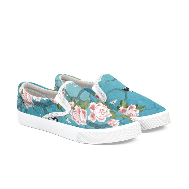Chinoiserie birds Women's Slip-On Shoes by AdenaJ