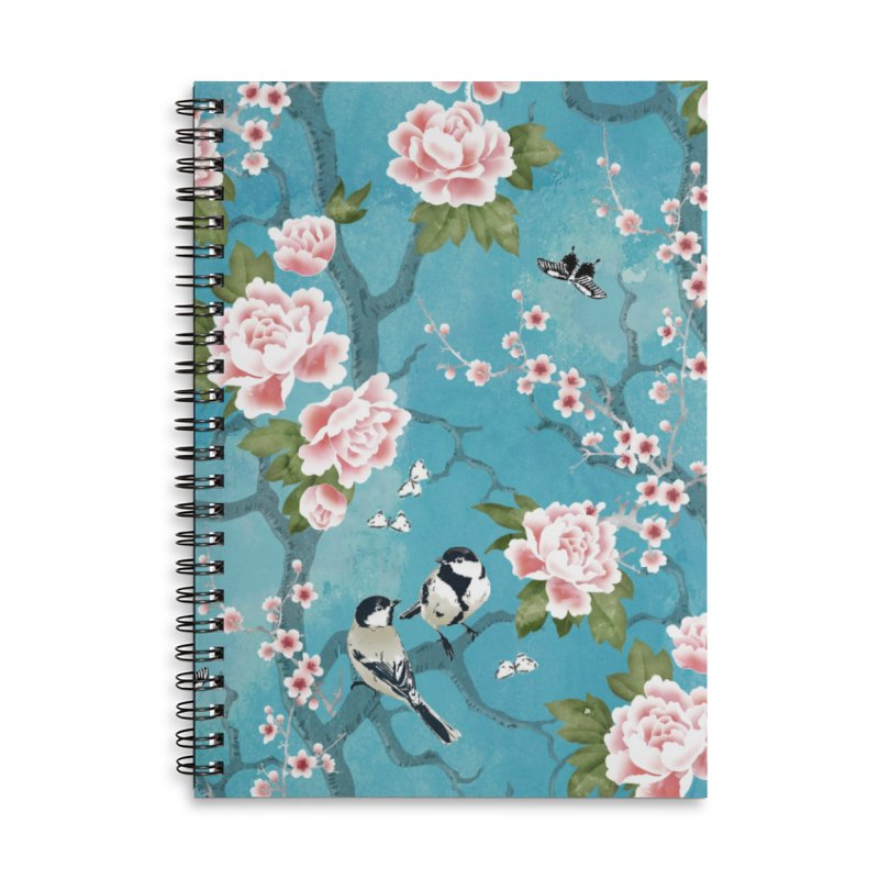 Chinoiserie birds Accessories Lined Spiral Notebook by AdenaJ