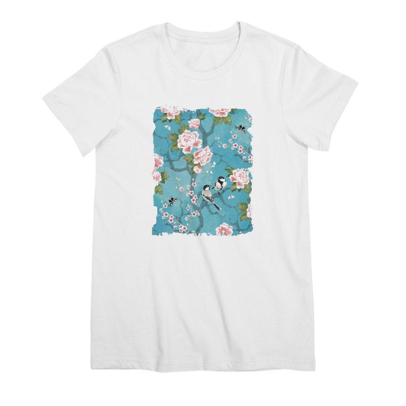 Chinoiserie birds Women's Premium T-Shirt by AdenaJ