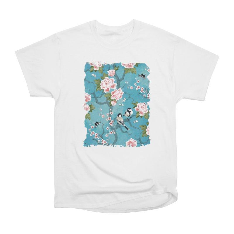 Chinoiserie birds Women's Heavyweight Unisex T-Shirt by AdenaJ