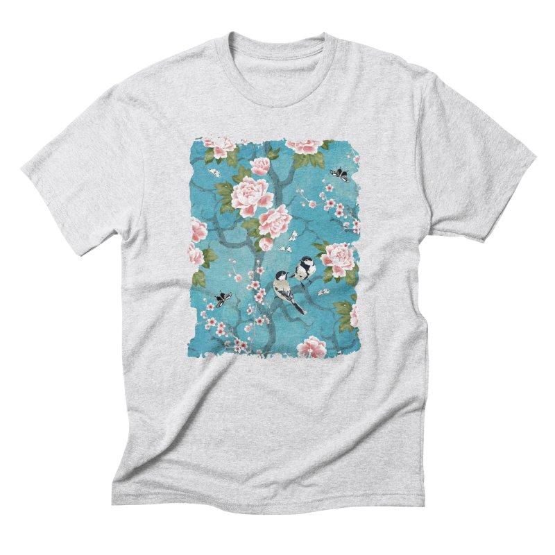 Chinoiserie birds Men's Triblend T-Shirt by AdenaJ