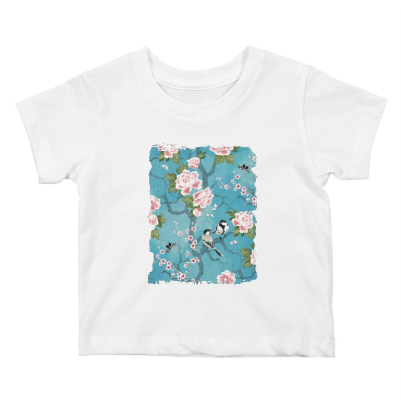 Chinoiserie birds Kids Baby T-Shirt by AdenaJ