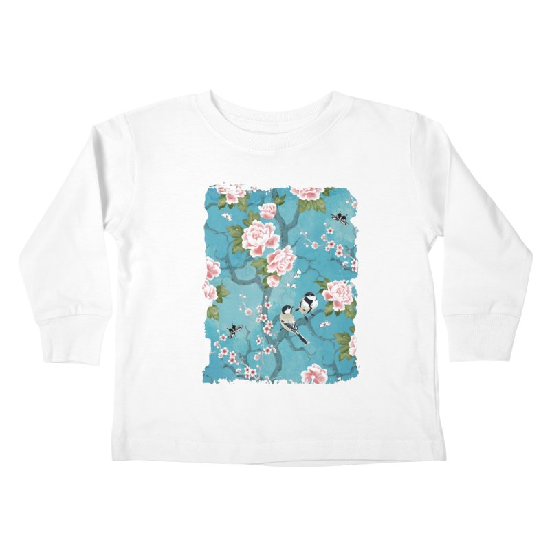 Chinoiserie birds Kids Toddler Longsleeve T-Shirt by AdenaJ