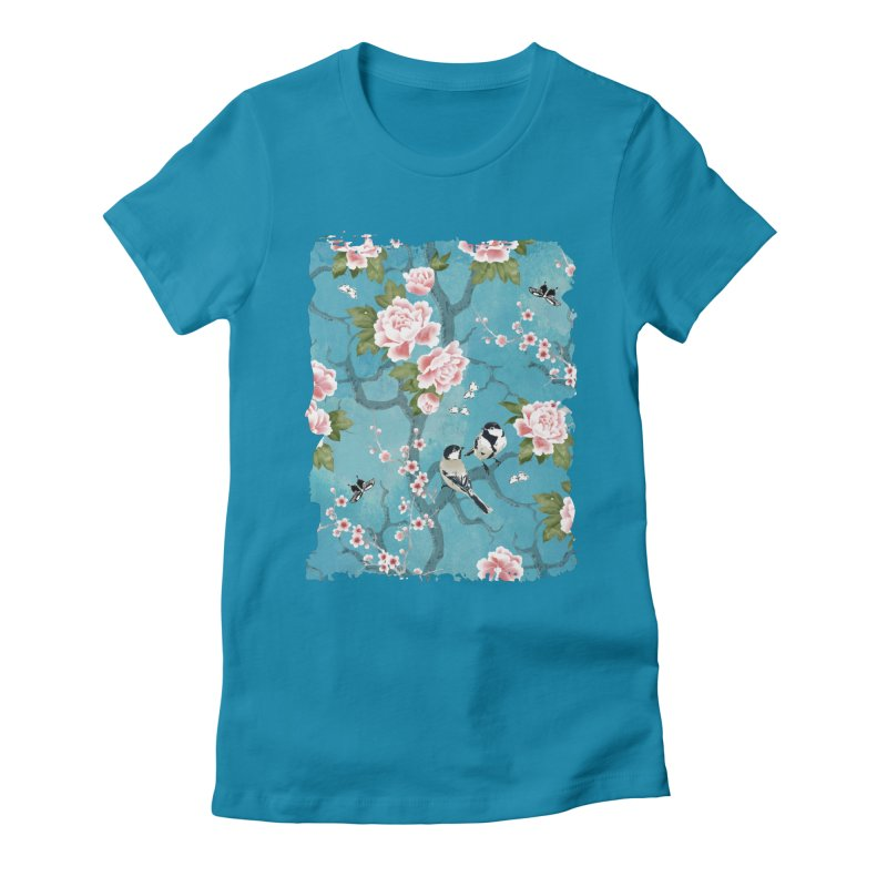 Chinoiserie birds Women's Fitted T-Shirt by AdenaJ