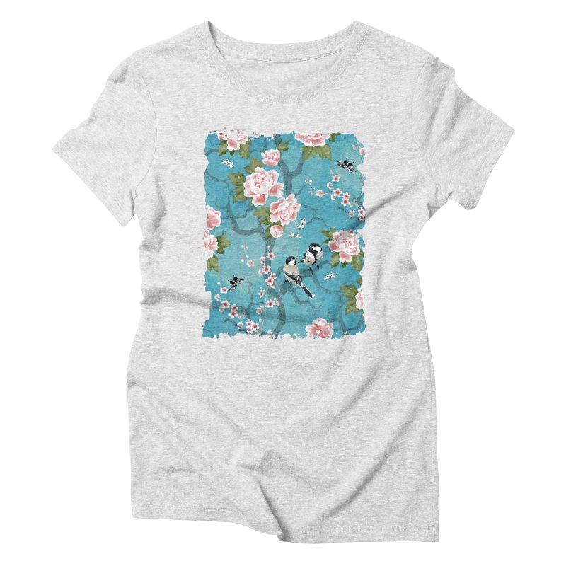 Chinoiserie birds Women's Triblend T-Shirt by AdenaJ