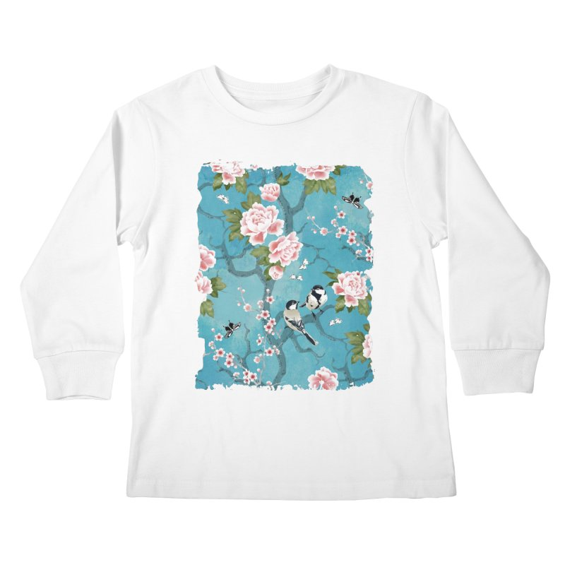 Chinoiserie birds Kids Longsleeve T-Shirt by AdenaJ