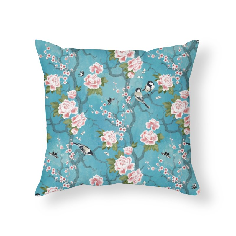 Chinoiserie birds Home Throw Pillow by AdenaJ