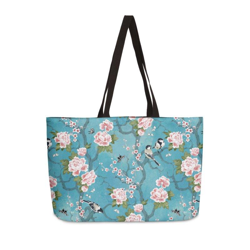 Chinoiserie birds Accessories Weekender Bag Bag by AdenaJ