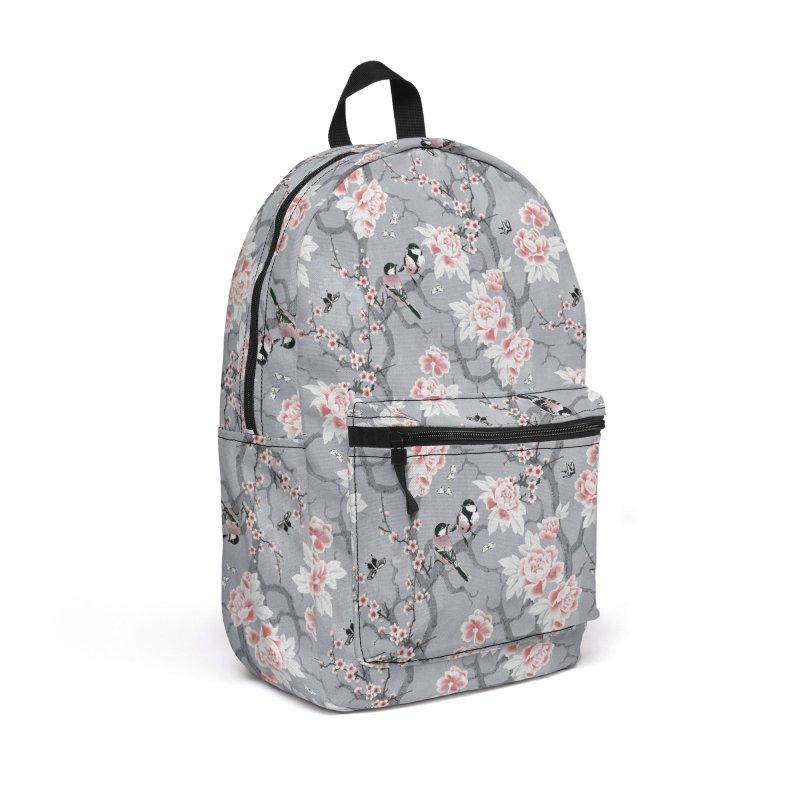 Chinoiserie birds in grey Accessories Backpack Bag by AdenaJ