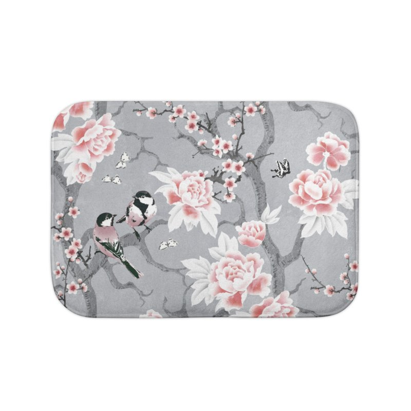 Chinoiserie birds in grey Home Bath Mat by AdenaJ