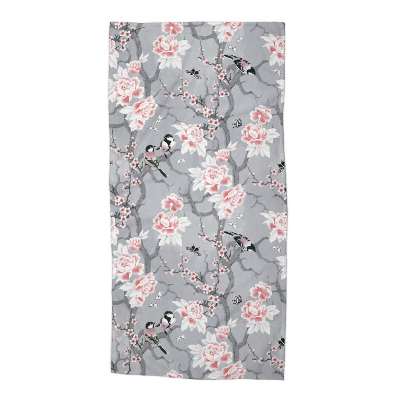 Chinoiserie birds in grey Accessories Beach Towel by AdenaJ