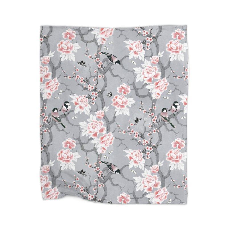 Chinoiserie birds in grey Home Fleece Blanket Blanket by AdenaJ