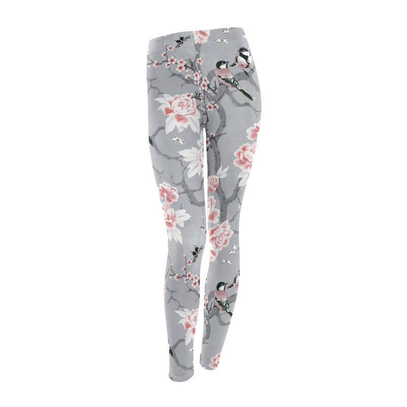 Chinoiserie birds in grey Women's Leggings Bottoms by AdenaJ