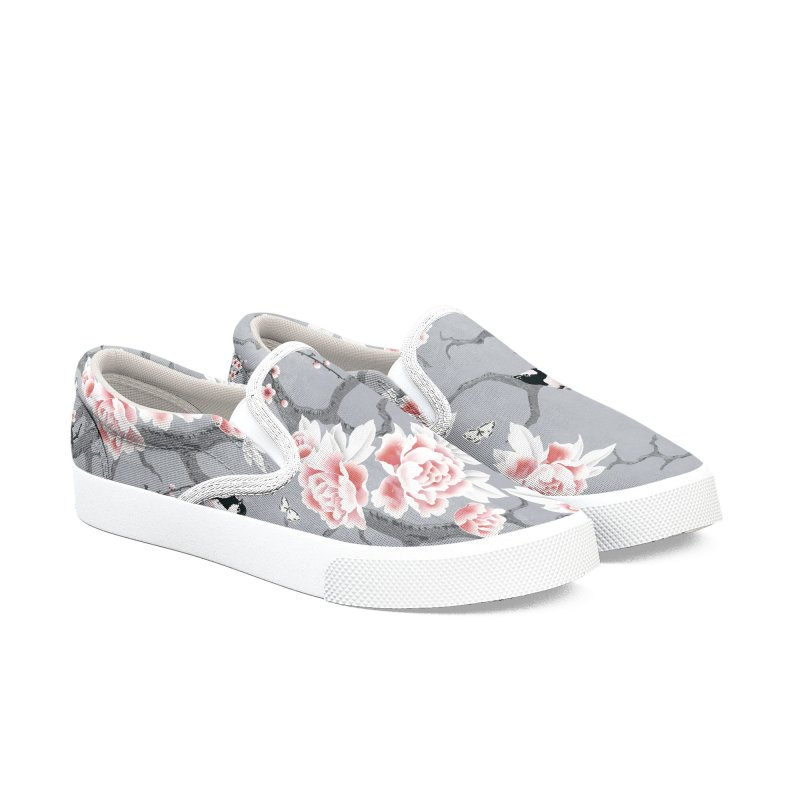 Chinoiserie birds in grey Women's Slip-On Shoes by AdenaJ