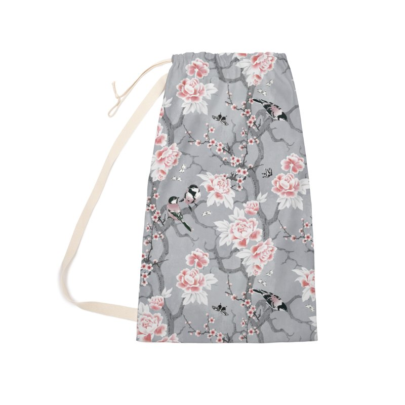 Chinoiserie birds in grey Accessories Laundry Bag Bag by AdenaJ