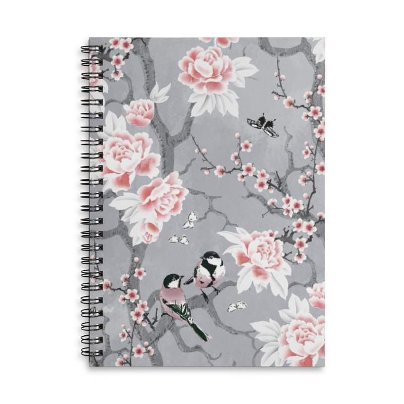 Chinoiserie birds in grey Accessories Lined Spiral Notebook by AdenaJ