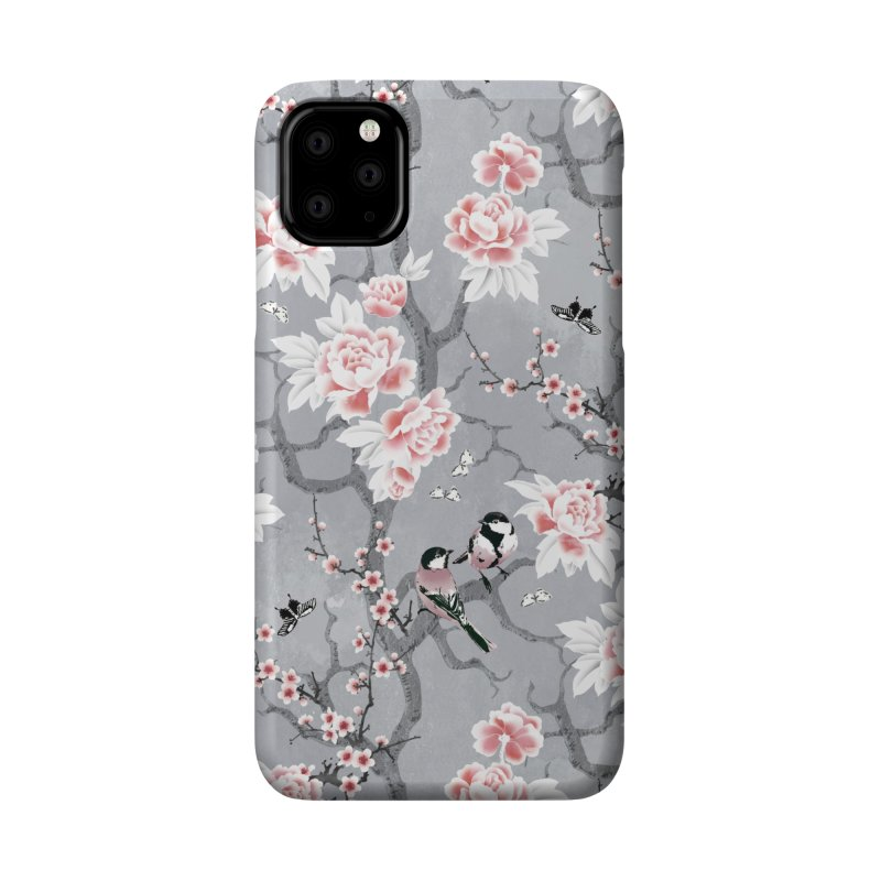 Chinoiserie birds in grey Accessories Phone Case by AdenaJ