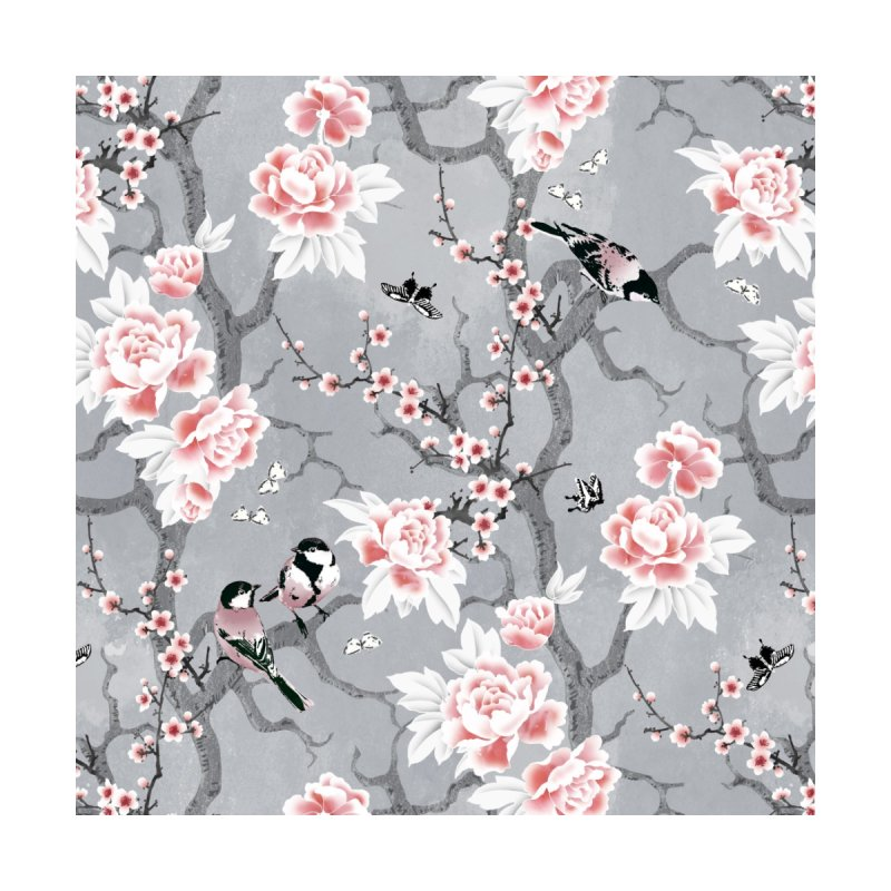 Chinoiserie birds in grey Home Blanket by AdenaJ