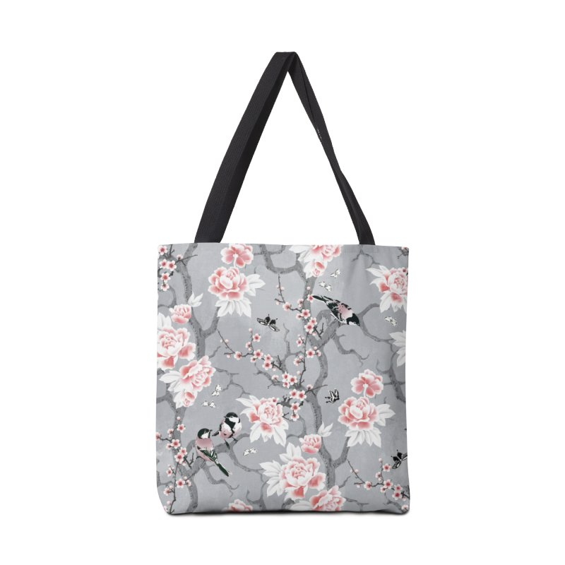 Chinoiserie birds in grey Accessories Tote Bag Bag by AdenaJ