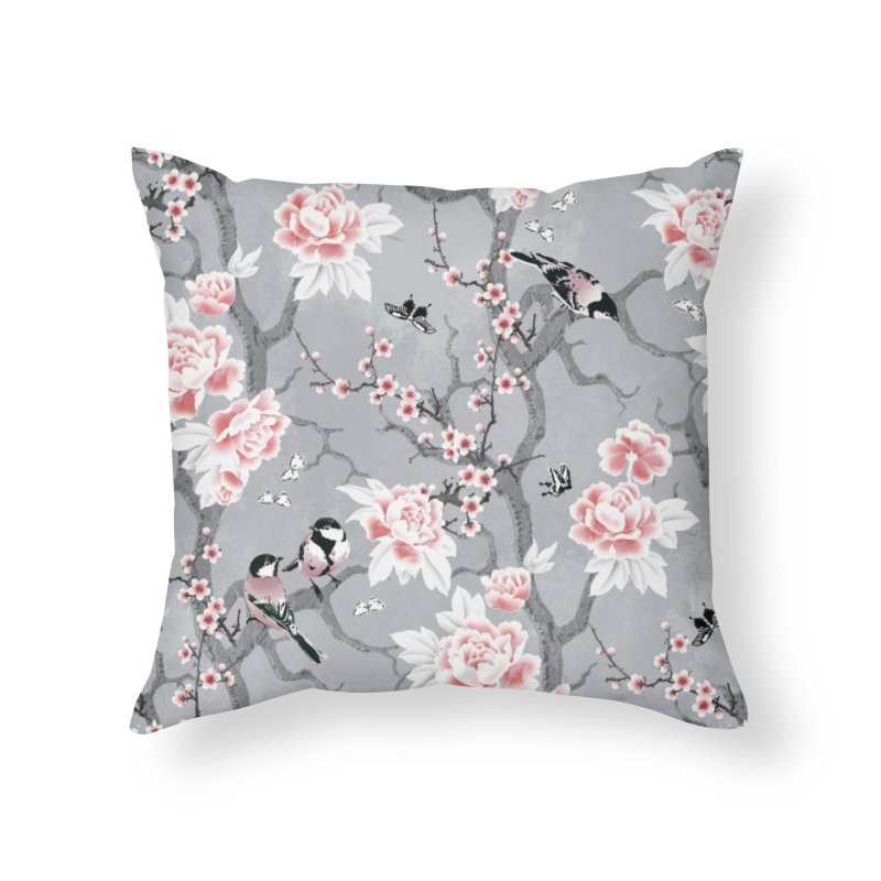 Chinoiserie birds in grey Home Throw Pillow by AdenaJ