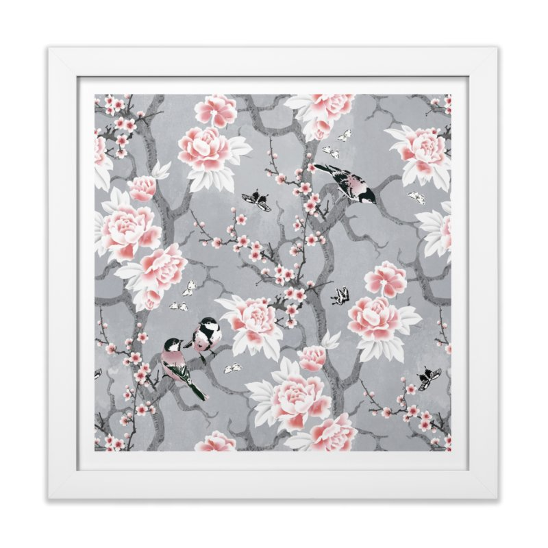 Chinoiserie birds in grey Home Framed Fine Art Print by AdenaJ