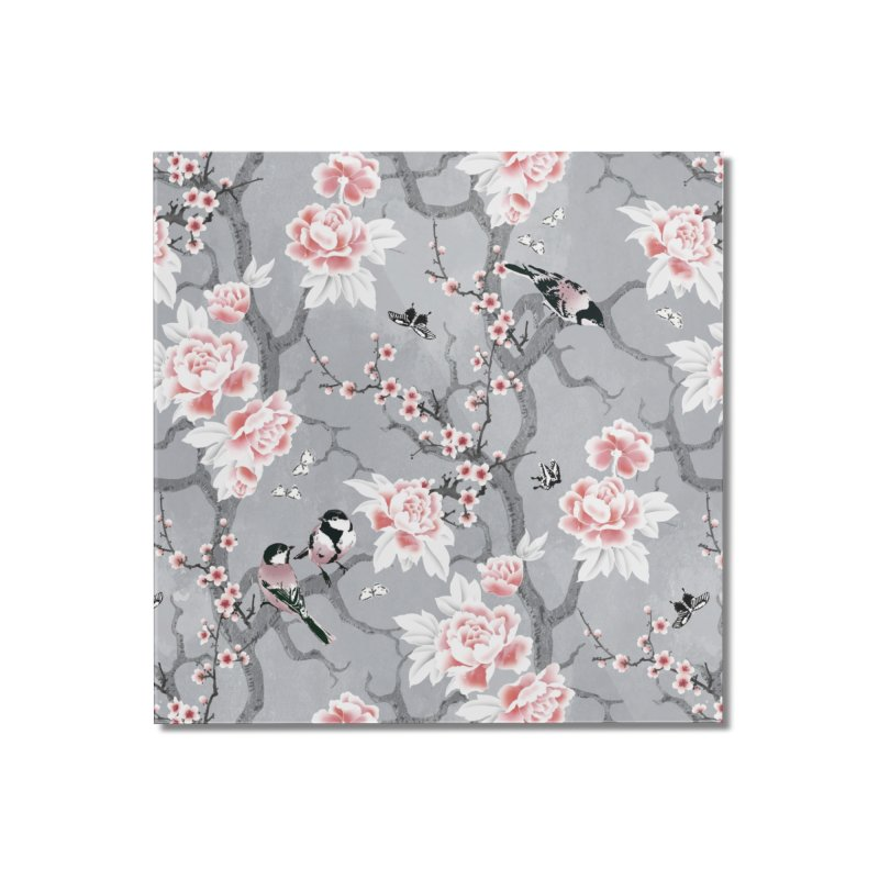 Chinoiserie birds in grey Home Mounted Acrylic Print by AdenaJ